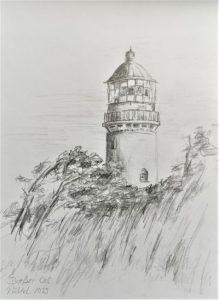 Skizze Leuchtturm auf einem Blatt Papier