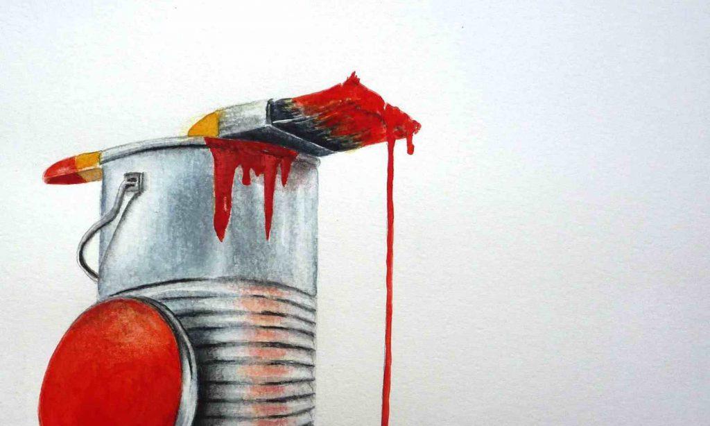 Farbtopf mit rotem Pinsel