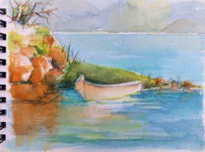 Aquarellskizze eines kleinen weißen Ruderboots auf einem Blatt Papier