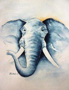 ein gemaltes Bild vom Kopf eines Elefanten