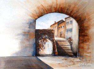 Aquarell Provence gemalt mit zwei Farben
