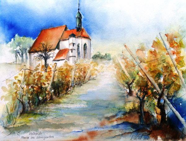 Ein Aquarell zeigt eine Wallfahrtskirche bei Volkach