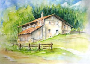 Das Aquarell zeigt einen Bauerhof in der Schweiz