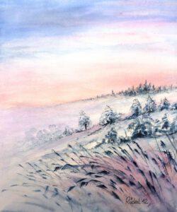 Aquarell einer Winterlandschaft in der Rhön
