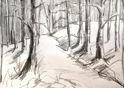Eine Tonwertskizze von einem verschneiten Waldweg