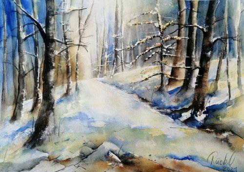 Ein Aquarell zeigt einen verschneiten Waldweg