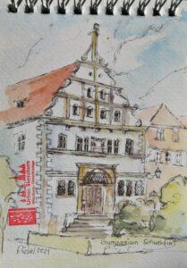 schnelle Zeichnung eines alten Gebäudes